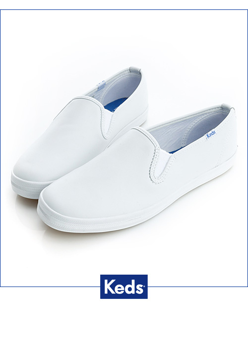 Keds經典升級皮質休閒便鞋-白x真皮110018