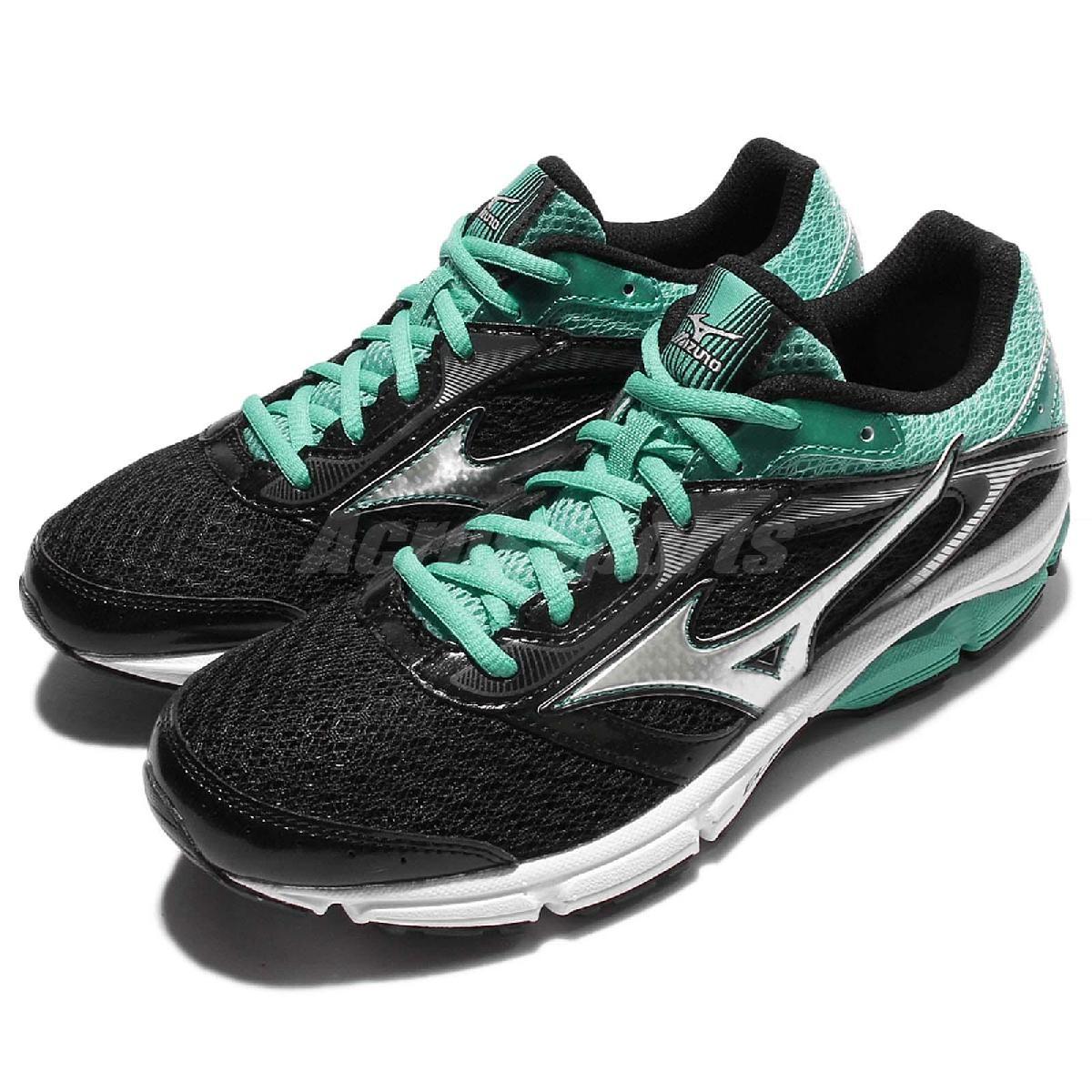 Mizuno 慢跑鞋 Wave Impetus 4 黑 綠 銀 入門款 女鞋 運動鞋【PUMP306】 J1GD161305