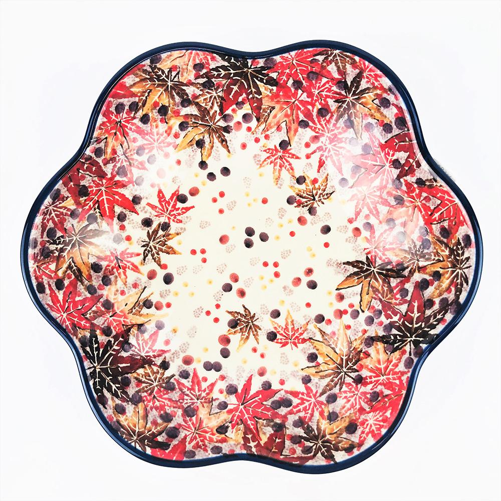 【手工波蘭陶 CA大廠】波蘭陶 20cm 花朵盤 717-050-U4907 楓葉