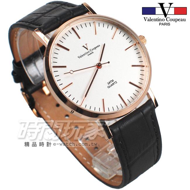 valentino coupeau 范倫鐵諾 簡約城市風格 皮革錶帶 男錶/中性錶/女錶/都適合 黑色x玫瑰金 V61576RG黑