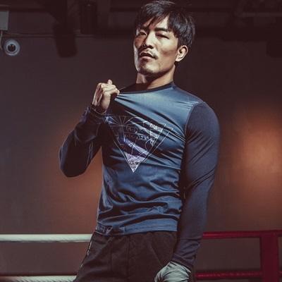 健身緊身衣-透氣速乾時尚新款男長袖運動服2色73np40時尚巴黎