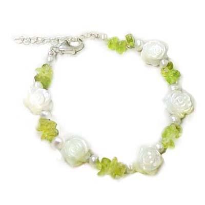 貝殼小玫瑰花與橄欖石手練