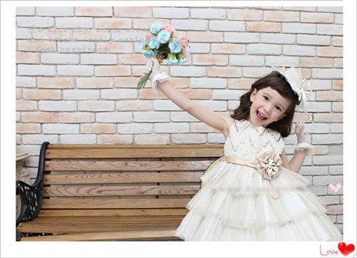 3C膜露露定制新款韓國金白色兒童禮服花童禮服女童公主裙紗裙兒童花童裙