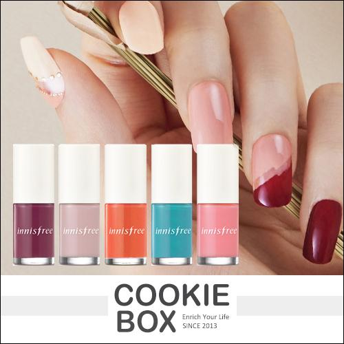 韓國innisfree彩色指甲油6ml指彩美甲彩繪高光澤粉嫩櫻花色藍色春夏潤娥*餅乾盒子