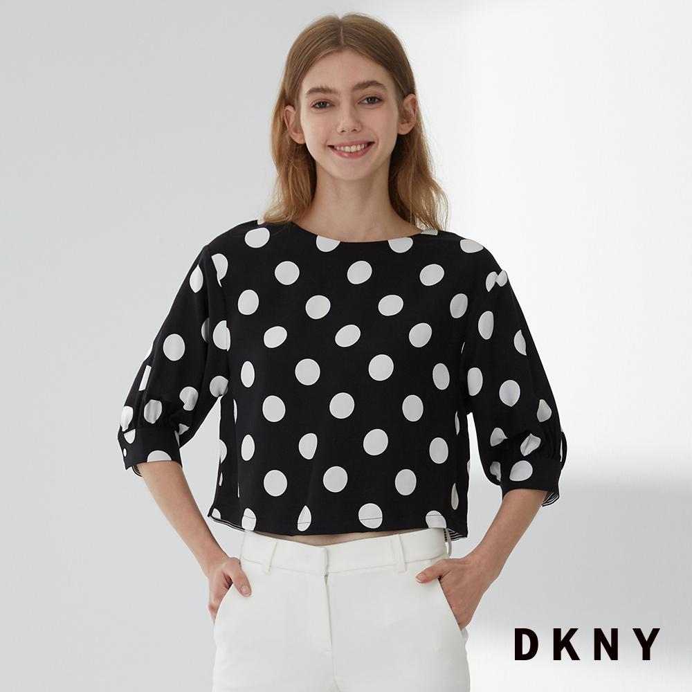 DKNY 女 造型上衣 撞色點點 黑白