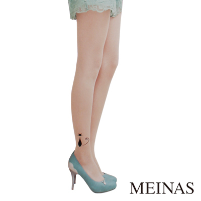 MEINAS美娜絲腳踝小黑貓透膚造型褲襪