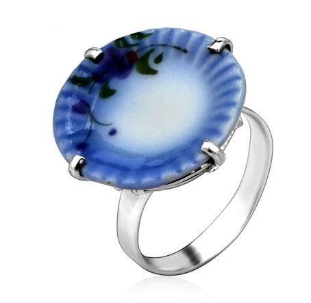 銀 可愛陶瓷銀寬戒指 女款手工銀戒指