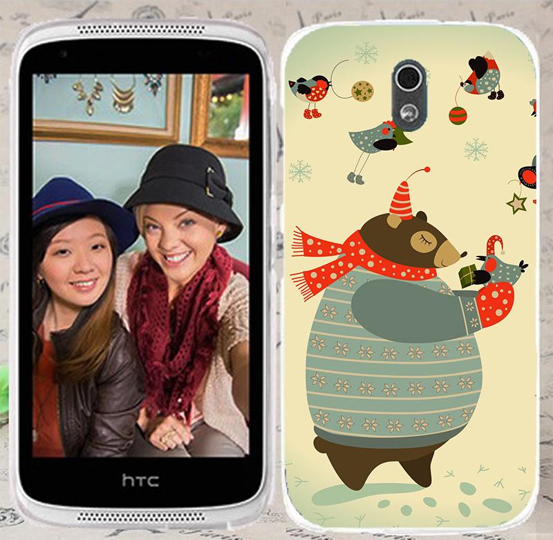 俏魔女美人館胖胖熊立體浮雕水晶硬殼HTC Desire 526G手機殼手機套保護套