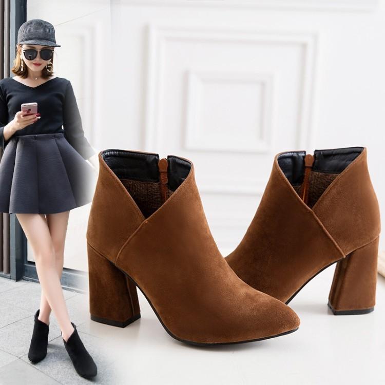 丁果大尺碼女鞋34-43絨皮斜口粗跟尖頭短靴*3色