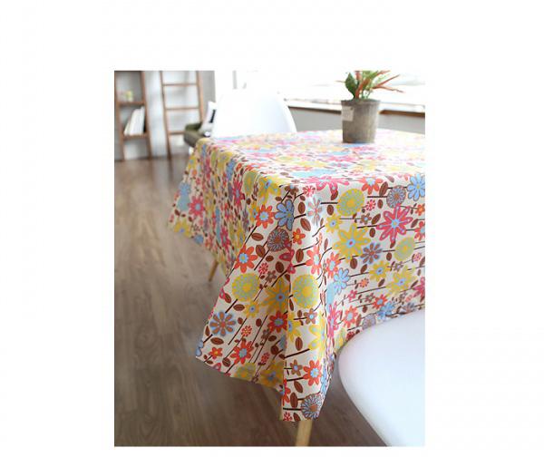 Mamae 140*110出口韓國百花齊放時尚花朵風格桌布時尚風格餐廳廚房餐巾野餐露營桌蛋捲桌