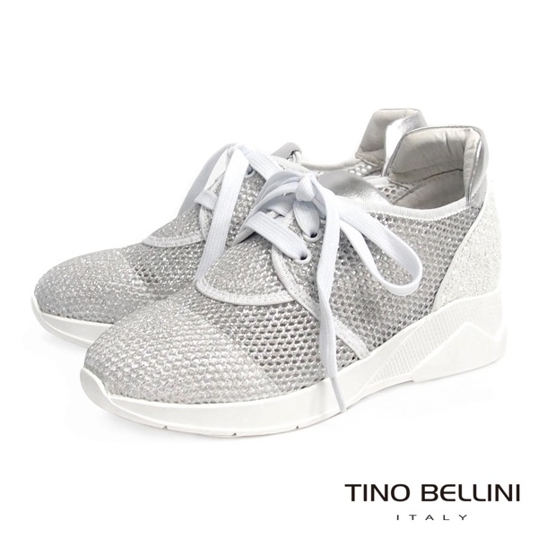 Tino Bellini閃礫網狀運動時尚休閒鞋銀白B63040A 2017SS