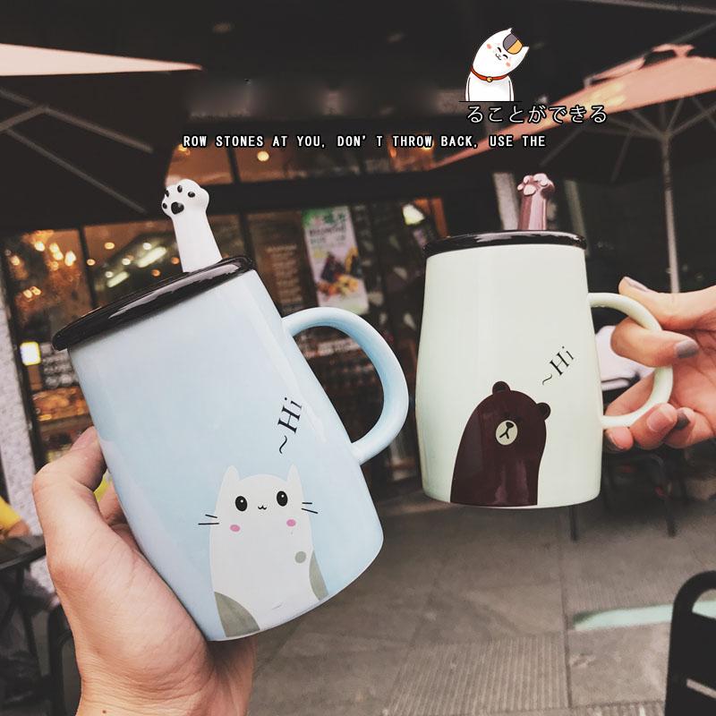 可愛萌物布布熊帶勺帶蓋馬克水杯卡通情侶辦公室泡茶咖啡陶瓷杯子