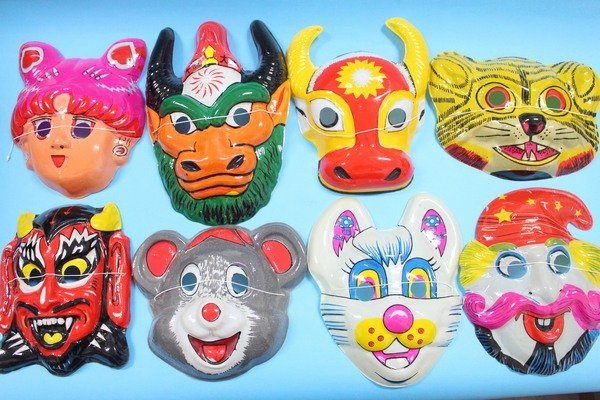 卡通面具動物造型面具變裝面具薄膠面.附鬆緊帶袋12個入定10混款