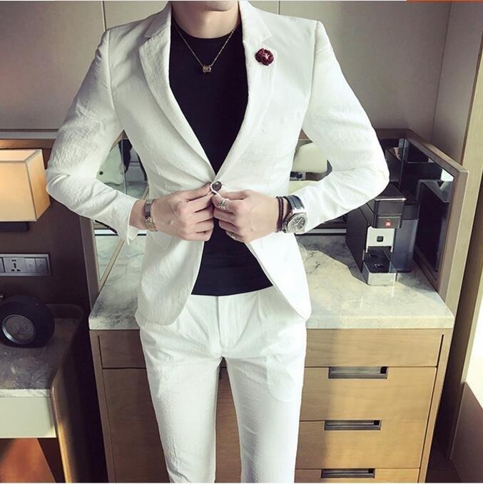 找到自己品牌韓國男西裝外套穿搭兩件式套裝成套西裝西裝修身外套褲子