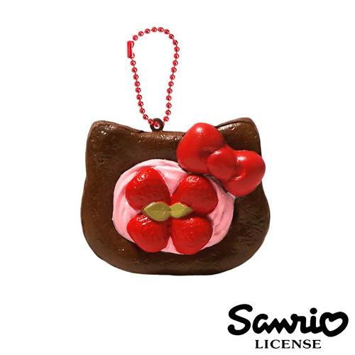 【日本進口正版】凱蒂貓 HelloKitty 巧克力款 草莓丹麥 麵包 捏捏吊飾 捏捏樂 美食 軟軟 - 615183