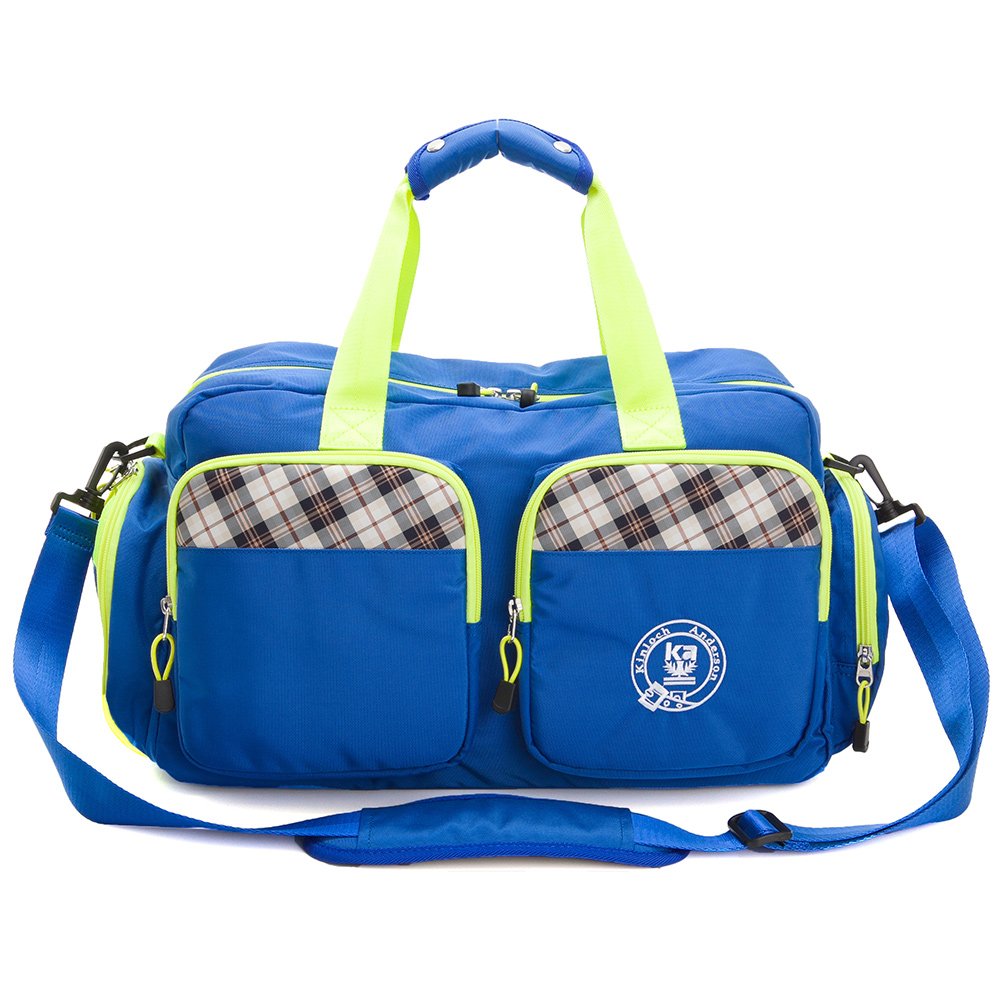 旅行袋 金安德森 跳躍時空  機能雙口袋手提旅行袋(中款)-摩登藍