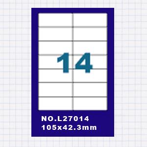 (5包)A4標籤貼紙2欄7列 / 50張入 四邊直角 雷射.噴墨.點距陣各式 列表機專用 標籤貼紙No.L27014