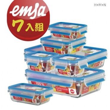 德國EMSA專利上蓋無縫頂級玻璃保鮮盒德國原裝進口0.2Lx2 0.5L