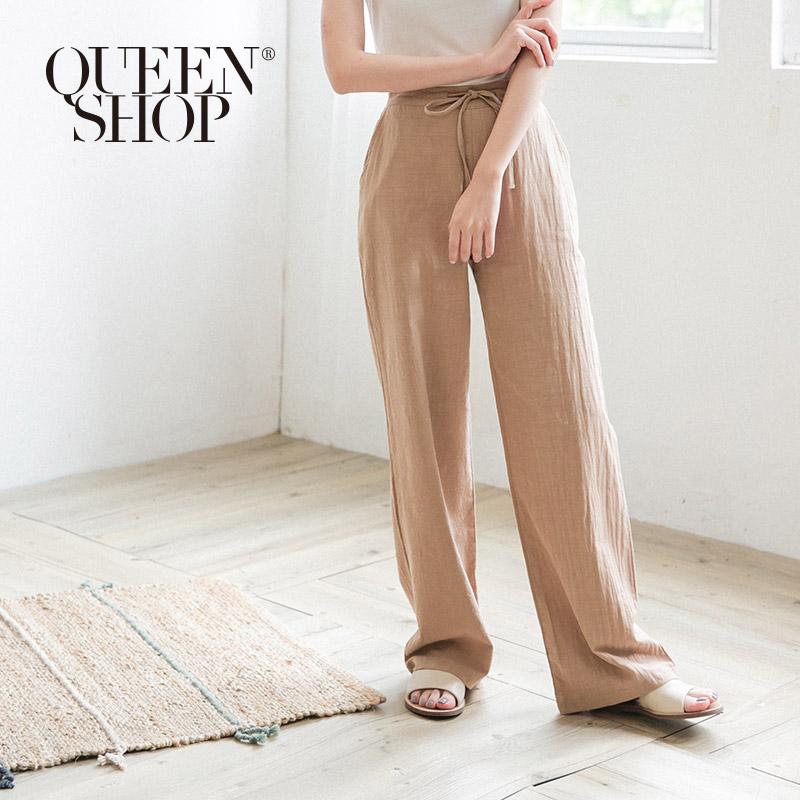 Queen Shop【04110240】綁帶造型棉麻落地褲 兩色售 S/M/L*現+預*