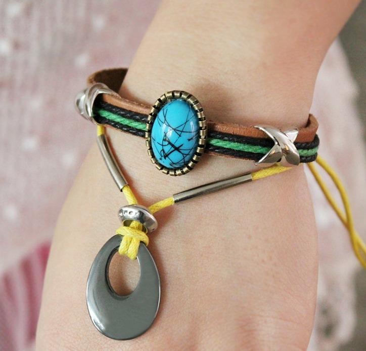 手鍊 黑膽石 串珠 時尚風 手飾 皮手鍊
