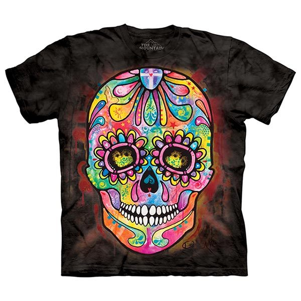 摩達客預購大尺碼3XL美國進口The Mountain彩繪骷髏頭純棉環保短袖T恤10415045204