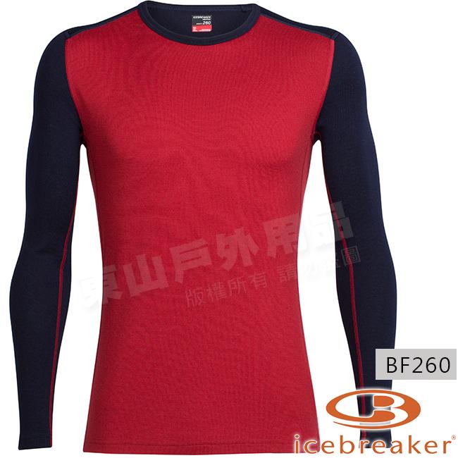 Icebreaker 104033-601暗紅深藍男羊毛貼身上衣Tech Top美麗諾保暖衛生衣快乾機能服排汗底層衫