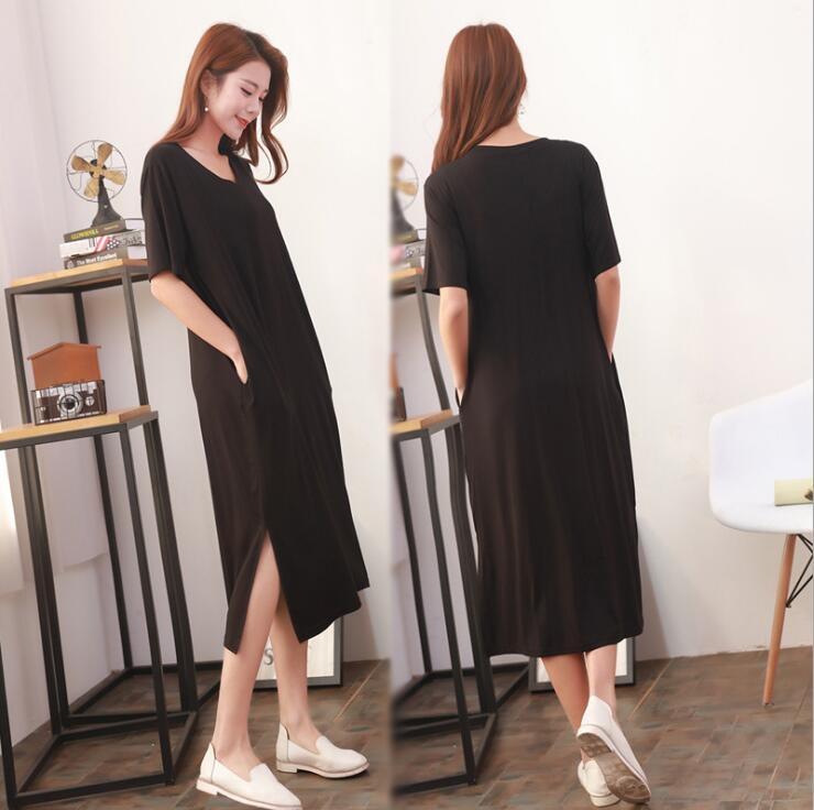 2017 春夏 連衣裙 V領 莫代爾 純棉 中長款 短袖 顯瘦 修身 打底裙 側開叉 長裙 女