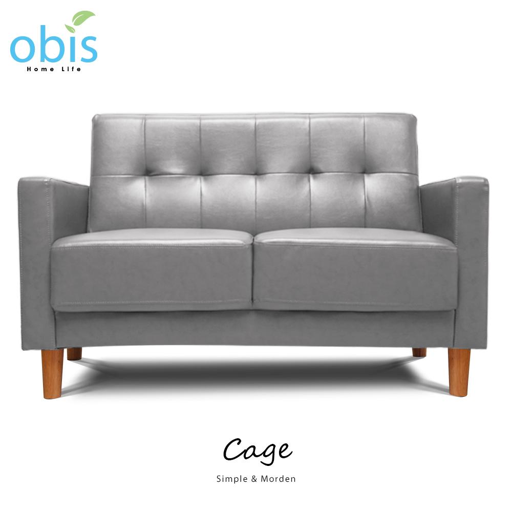 Cage簡約風溫潤雙人皮沙發【obis】