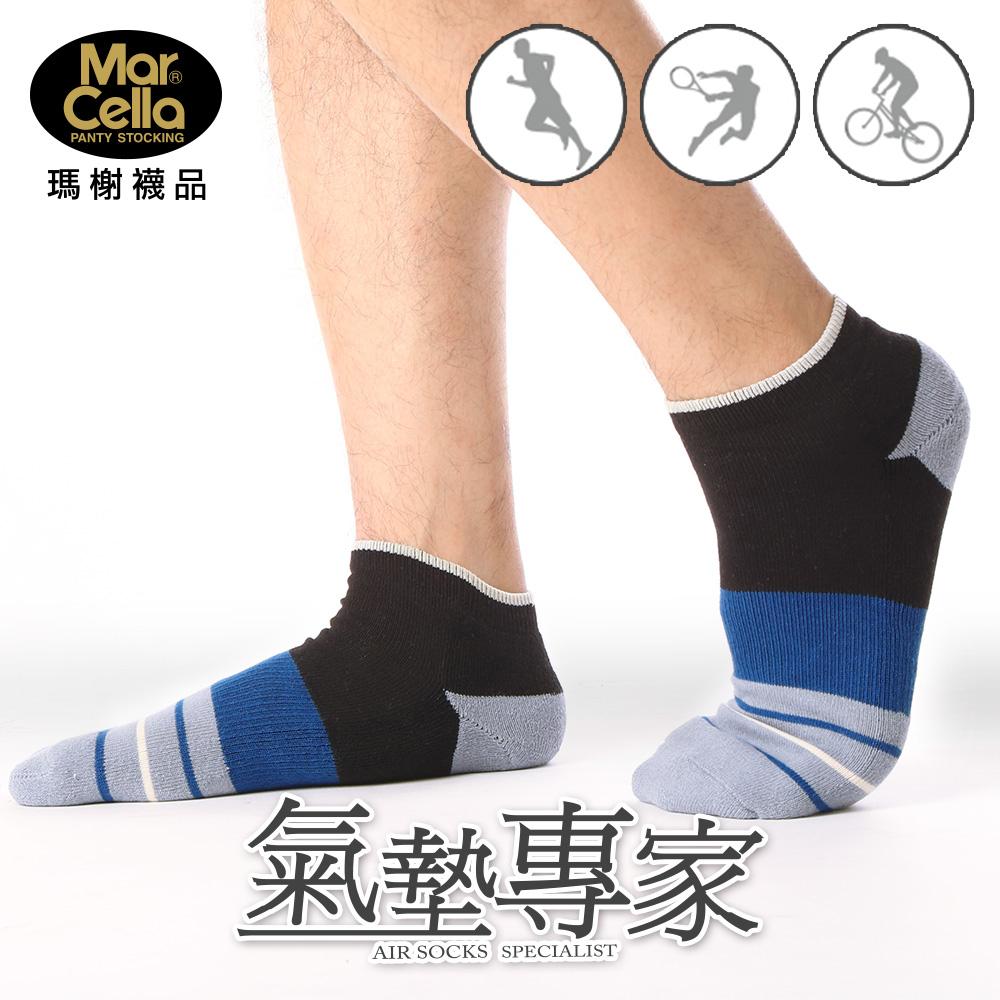 瑪榭 氣墊專家 超彈力毛巾底船型襪-撞色
