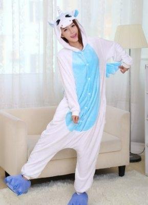 獨角獸藍白睡衣男女款如廁版藍星居家
