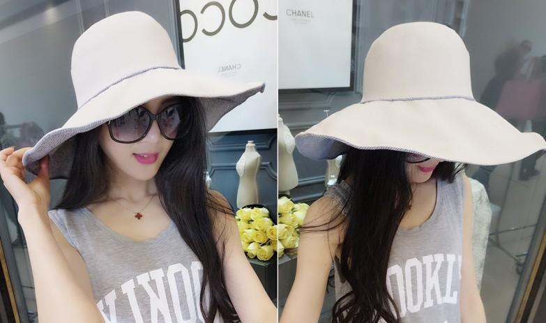 協貿國際夏天兩面可戴遮陽防曬可折疊大沿帽
