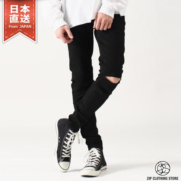 牛仔丹寧黑褲窄管破褲