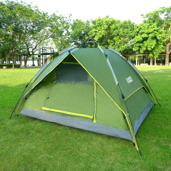 LIFECODE立可搭3-4人抗紫外線雙層速搭帳篷-液壓款二用帳篷-綠色LC603G-1