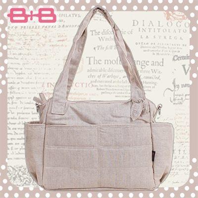 經典純靜媽媽包-褐尿布墊保溫袋多功能肩揹側背媽咪包HAPPY B B E-B-95145-B