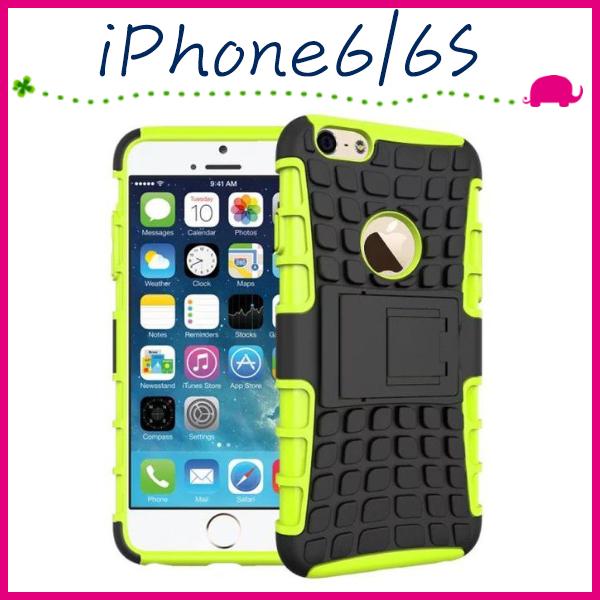 Apple iPhone6 6s 4.7吋Plus 5.5吋輪胎紋手背蓋全包邊手機套矽膠保護殼帶支架保護套PC TPU手機殼