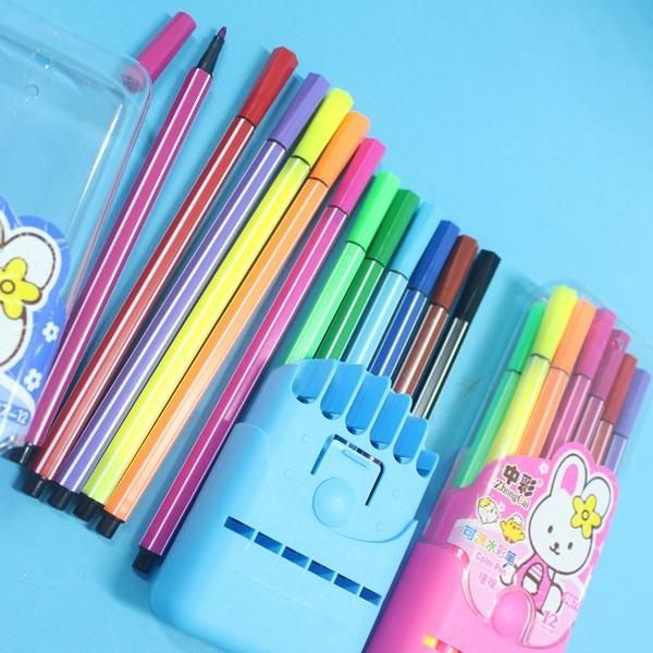 12色可水洗水彩筆中彩987-12筆型繪畫彩色筆一袋10盒入促49細桿膠盒