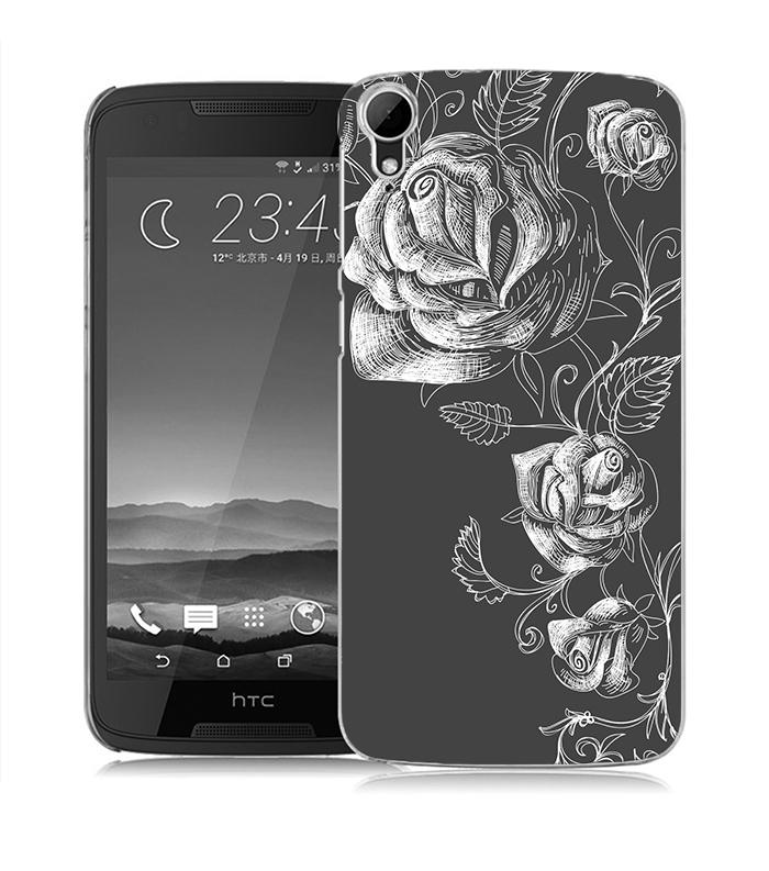俏魔女美人館灰色玫瑰立體浮雕水晶硬殼HTC Desire 828手機殼手機套保護套保護殼