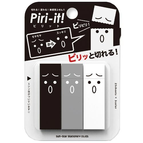 funbox生活用品sun-star Piri-it雙用標示便箋表情黑UA42440
