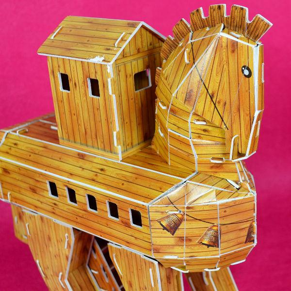 外包膜破損紙盒黃斑NG福利品3D立體拼圖專賣店古希臘木馬屠城記特洛伊木馬卡樂保