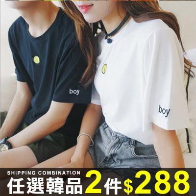 短袖T恤韓版情侶裝短袖寬鬆T恤袖口LOGO裝飾短袖上衣08B-B0404