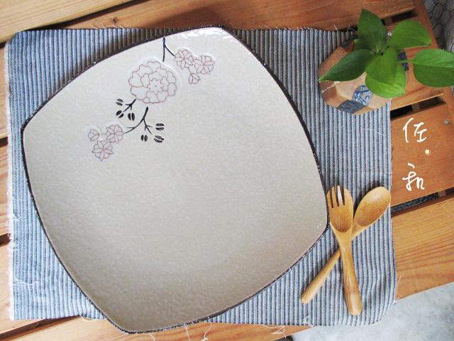 佐和陶瓷餐具~82GA026-10.5 10.5吋四方淺盤白梅開店餐廳擺盤宴會盤