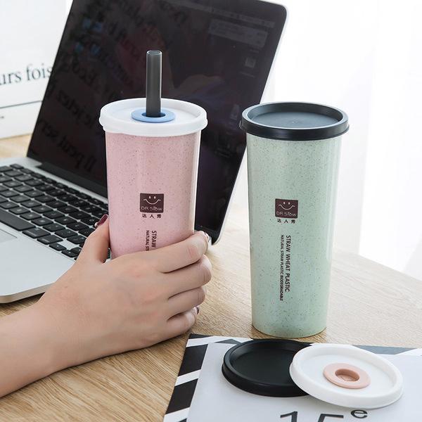 水杯小麥帶吸管雙蓋隨手杯450ml附贈吸管優質小麥纖維水瓶KCP032收納女王
