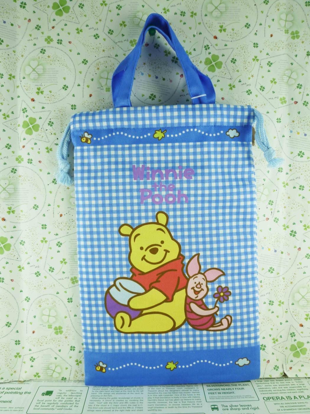 震撼精品百貨Winnie the Pooh小熊維尼~手提束口袋-藍格