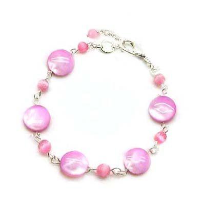 粉紅色貝殼圓片與貓眼珠手鍊