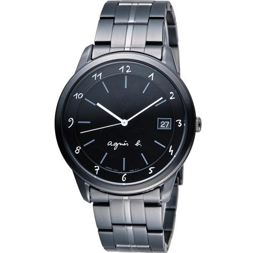 agnes b蜥蜴圖騰簡約時尚腕錶BP9002J1 VJ52-00A0SD黑