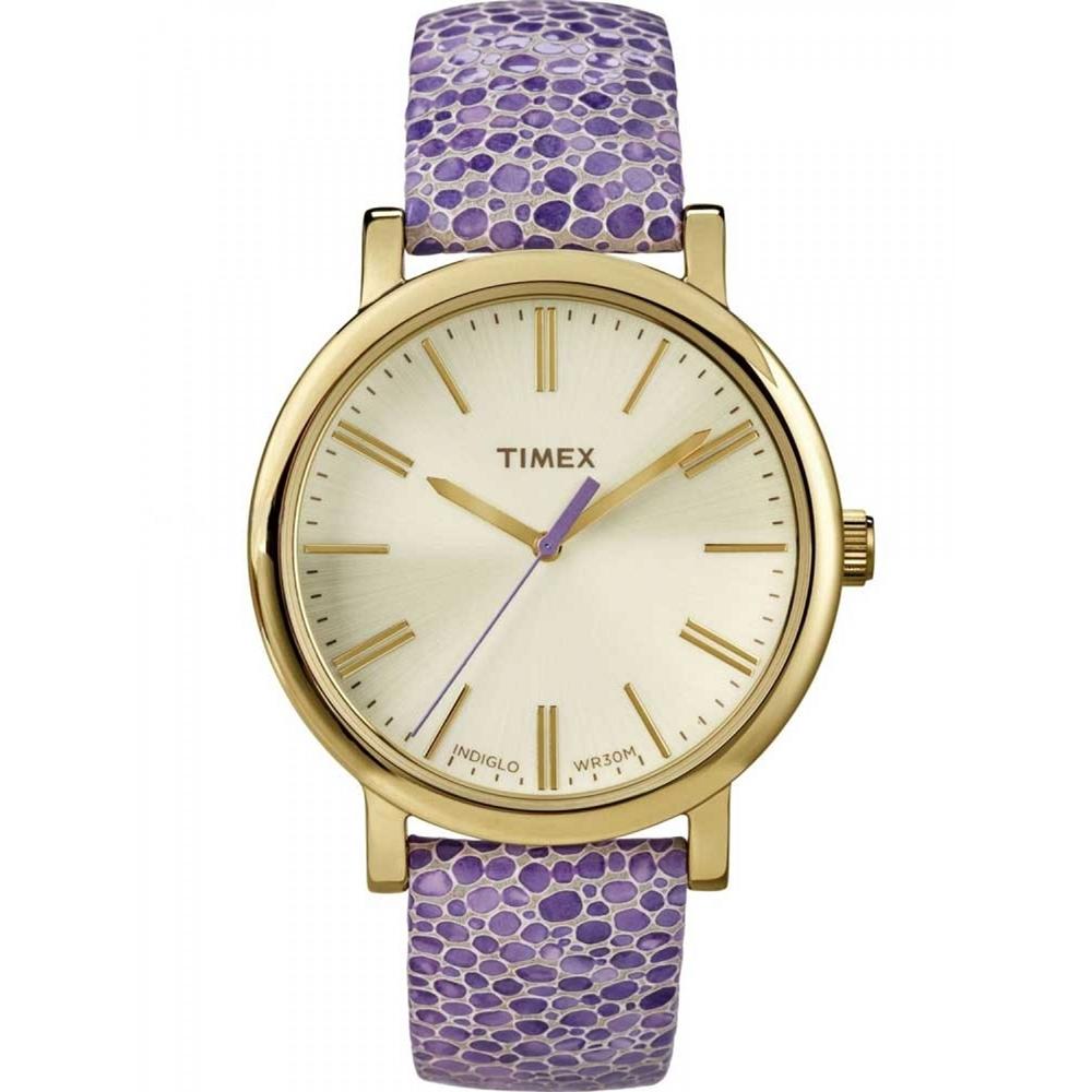 【TIMEX】天美時 復刻系列 經典復刻冷光系列三針腕錶(米白x紫色錶帶 TXT2P326)