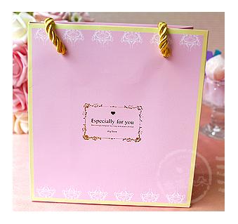 幸福朵朵*Especially for you 燙金文字「粉色」(14X15X7cm)小手提袋(禮物包裝袋)-婚禮小物