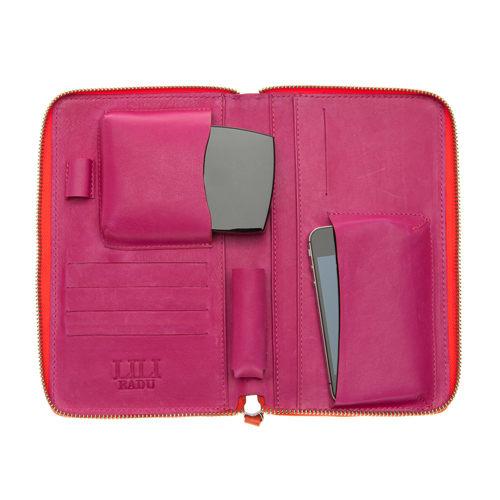 LILI RADU德國新銳時尚設計品牌手工雙色小牛皮時尚手拿多功能化妝包手機包錢包漾橙橘
