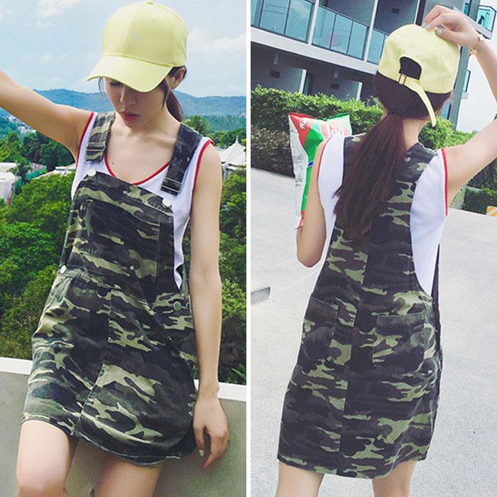 太陽後裔韓風迷彩吊帶短裙 MDS160009