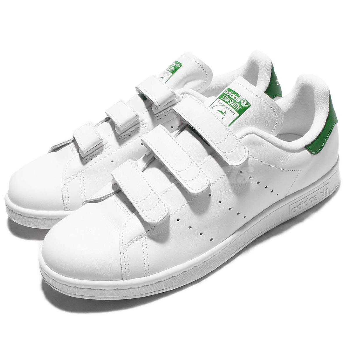 adidas休閒鞋Stan Smith CF白綠基本款魔鬼氈男鞋女鞋PUMP306 S75187